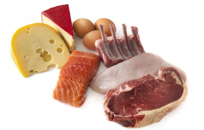 Sources of protein, including cheese, eggs, fish, lamb, chicken and beef. Isolated on white.